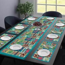 Turquoise Cotton Table Mat & Runner Set (Set Of 7)