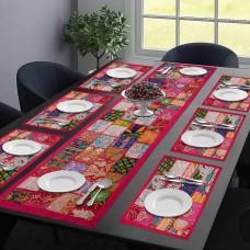Princess Queen Table Mat & Runner Set- Pink (Set Of 7)