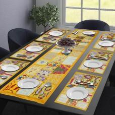 Patchwork Vintage Table Mat & Runner Set - Yellow (Set Of 7)