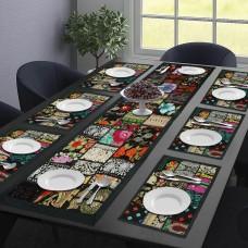 Black Beauty Table Mat & Runner Set (Set Of 7)