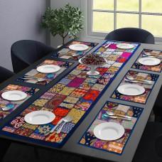 Royal Blue Table Mat & Runner Set - (Set Of 7)