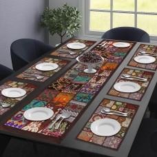 Chocolaty Brown Table Mat & Runner Set (Set Of 7)
