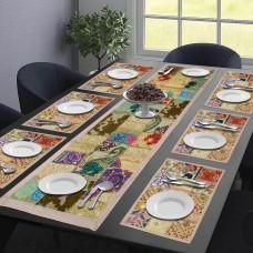 Ethnic Rajasthani Table Mat & Runner set - Golden (Set Of 7)