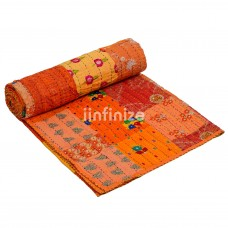 Bright Orange Kantha Quilt
